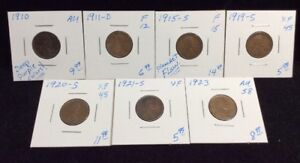 EARLY WHEAT CENTS 7 COIN LOT 1910 1911 D 1915 S 1919 S 1920 S 1921 S 1923