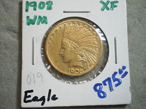1908 $10 INDIAN GOLD/ BARGAIN PRICE/ WITH MOTTO       UNCERTIFIED