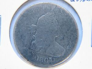 1807 DRAPED BUST QUARTER VG DETAIL  EARLY TYPE COIN