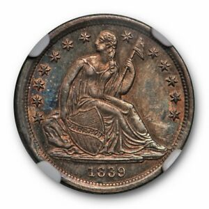 1839 SEATED LIBERTY DIME NO DRAPERY 10C NGC MS 62 UNCIRCULATED TONED