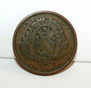1837 LOWER CANADA CITY BANK ONE PENNY BANK TOKEN