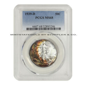 Click now to see the BUY IT NOW Price! NONE FINER 1939 D 50C WALKING LIBERTY PCGS MS68 GEM GRADED SILVER HALF DOLLAR