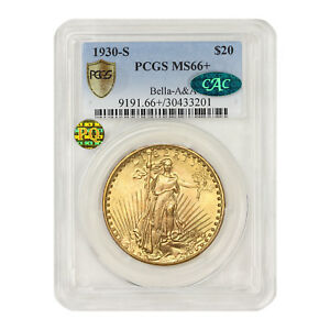 Click now to see the BUY IT NOW Price! 1930 S $20 GOLD SAINT GAUDENS PCGS MS66  BELLA A&A CAC PQ