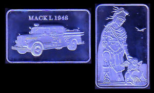 SILVER PLATED BAR : FIREMEN FIREFIGHTERS VEHICLE : MACK L 1948