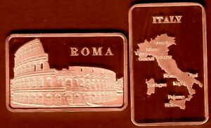 COPPER PLATED BAR : ROME : COLISEUM GLADIATORS ITALY
