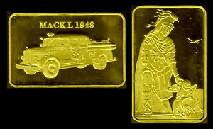 GOLD PLATED BAR : FIREMEN FIREFIGHTERS VEHICLE : MACK L 1948