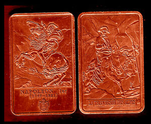BRONZE PLATED BAR : NAPOLEON AND THE CROSSING OF ALPS