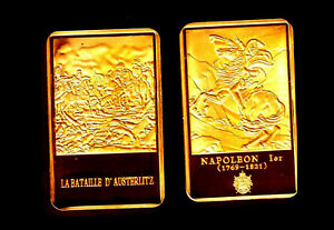 GOLD PLATED BAR : NAPOLEON AND THE BATTLE OF AUSTERLITZ