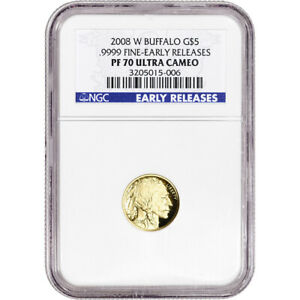 2008 W AMERICAN GOLD BUFFALO PROOF 1/10 OZ $5   NGC PF70 UCAM EARLY RELEASES