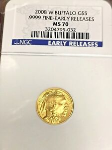 2008 W $5 GOLD BUFFALO 1/10 OZ. NGC MS70 EARLY RELEASES  KEY DATE LOW POP