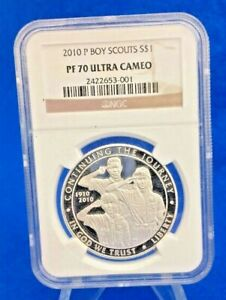 2010 P BOY SCOUTS SILVER PROOF DOLLAR NGC PF70 ULTRA CAMEO