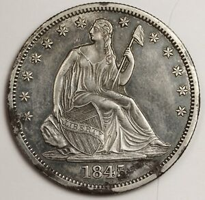 1845 O SEATED LIBERTY HALF. ERROR. RE PUNCHED DATE FS 303 WB 108.  A.U.  126793