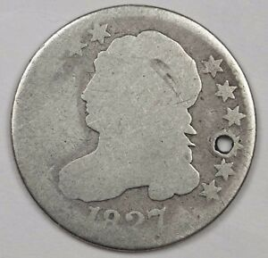 1827 BUST DIME.  CIRCULATED DETAIL.  HOLED.  115778