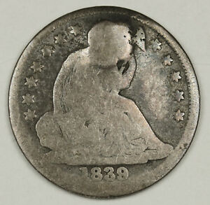 1839 LIBERTY SEATED HALF DIME.  SHOT WITH A BULLET.  132536