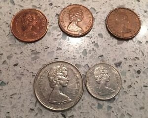 CANADA MIXED LOT OF 5 COINS   1 CENT   25 CENT   10 CENT   1970   1957