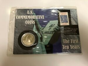 1986 STATUE OF LIBERTY UNCIRCULATED HALF DOLLAR COMMEMORATIVE COIN AND STAMP
