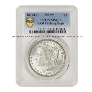 Click now to see the BUY IT NOW Price! 1891 CC $1 MORGAN PCGS MS65  VAM 3 SPITTING EAGLE SEMI KEY DATE SILVER DOLLAR