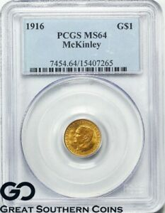 1916 $1 GOLD MCKINLEY COMMEMORATIVE GOLD DOLLAR PCGS MS 64    NICE LOOK SHARP