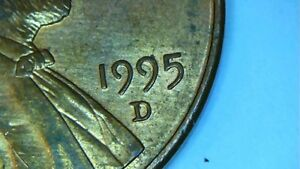 1995 D LINCOLN CENT MINT ERROR PENNY. DIE BREAK CUD IN THE SECOND 9 OF DATE.