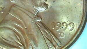1999D LINCOLN CENT MINT ERROR PENNY. OFF CENTER ON OBVERSE. NICE LOOKING