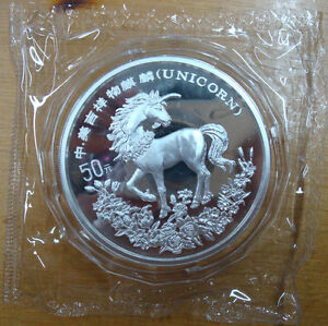 Click now to see the BUY IT NOW Price! 1994 5OZ 50Y CHINA AMERICA MASCOT SILVER UNICORN COIN WITH COA