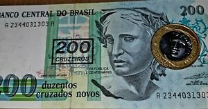 BRAZIL CURRENCY AND 2008 BI METAL 1 REAL' COIN. NICE SET. UNC.