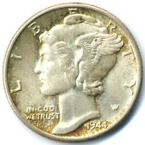 1944 MERCURY DIME NEARLY UNCIRCULATED GREAT DETAIL AND LUSTER A0250