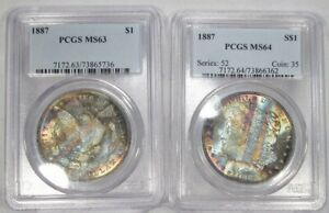 Click now to see the BUY IT NOW Price! PAIR 1887 P SILVER MORGAN DOLLARS BOOK ENDS TONING END OF ROLL PCGS SAM92
