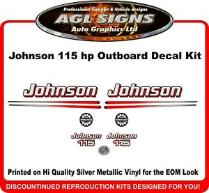2003-05 Johnson 115HP Black Cowl 2 Stroke Outboard Repro Saltwater Ed 14Pc Decal