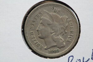 1869 3 CENT NICKEL REPUNCHED DATE ERROR