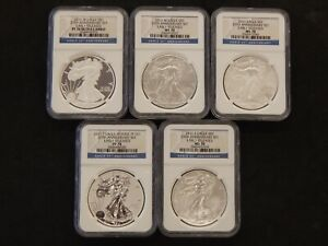 2011 25TH ANNIVERSARY SILVER EAGLE SET   NGC GRADED MS/PF70'S   5 COIN SET