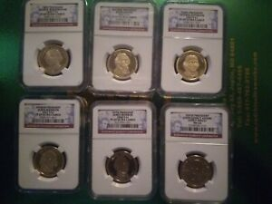 2007S 1ST THRU 6TH PRESIDENT $1 COINS/NGC PROOF69 ULTRA CAMEO'S