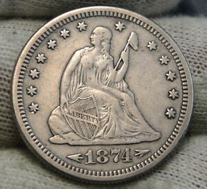 1874S SEATED LIBERTY QUARTER 25 CENTS   KEY DATE 392 0000 MINTED NICE  8290