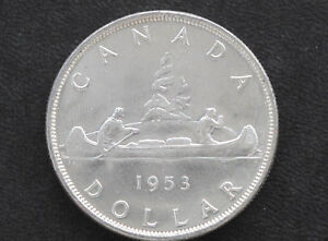 Click now to see the BUY IT NOW Price! 1953 CANADA SILVER DOLLAR SF ELIZABETH II CANADIAN COIN D7127