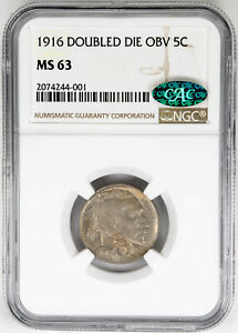 Click now to see the BUY IT NOW Price! 1916 5C DOUBLED DIE OBVERSE  BUFFALO NICKEL. NGC MS63 CAC APPROVED US  COIN