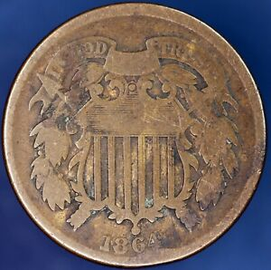 1864 UNITED STATES US TWO CENT 2C COIN  [16450]