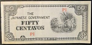 1943 FIFTY CENTAVOS JAPANESE GOVERMENT  ISSUED PHILLIPINE MONEY ND105A