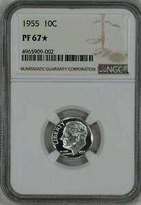 1955 ROOSEVELT DIME 10C SILVER NGC CERTIFIED PF 67  STAR PROOF UNCIRCULATED  002