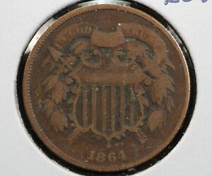 1864 2 CENT PIECE ROTATED REVERSE ERROR 9WSV