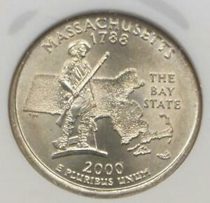 2000 NGC MS 65 PARTIAL COLLAR MINT ERROR MASSACHUSETTS STATE QUARTER GEM MS65