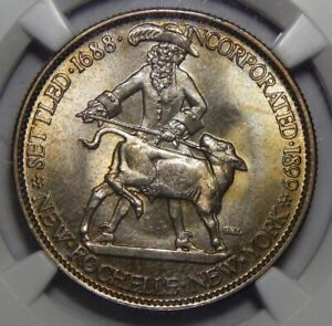 1938 NGC MS67 NEW ROCHELLE HALF DOLLAR SILVER COMMEMORATIVE