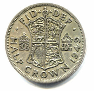 GREAT BRITAIN 1949 HALF CROWN COIN   UNITED KINGDOM ENGLAND KING GEORGE VI