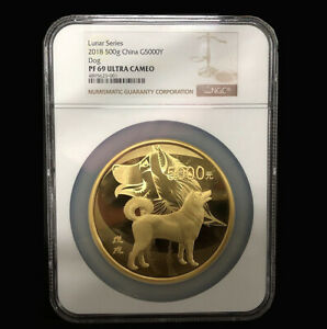 Click now to see the BUY IT NOW Price! 2018 500G G5000Y CHINA GOLD COIN LUNAR COIN DOG NGC PF69 ULTRA CAMEO WITH COA