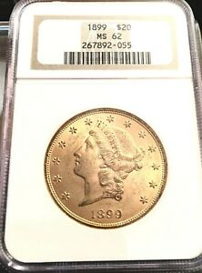 1899 GOLD $20 LIBERTY DOUBLE EAGLE COIN   NGC MS62