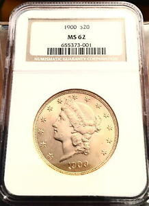 1900 GOLD $20 LIBERTY DOUBLE EAGLE COIN   NGC MS62