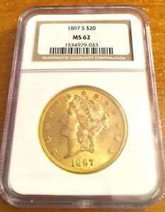 1897 S GOLD $20 LIBERTY DOUBLE EAGLE COIN   NGC MS62