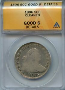 1806 25C ANACS G 6 DETAILS  GOOD G6  DRAPED BUST SILVER QUARTER