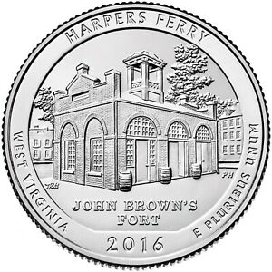 QUARTER COIN USA 25 CENTS HARPERS FERRY NATIONAL HISTORICAL PARK 2016
