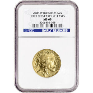 2008 W AMERICAN GOLD BUFFALO BURNISHED 1/2 OZ $25   NGC MS69 EARLY RELEASES