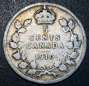1910 CANADA SILVER 5 CENT COIN   FREE COMBINED SHIPPING